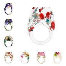 Newest Dried Flower Resin Ring Women Fashion Handmade Epoxy Finger Jewelry
