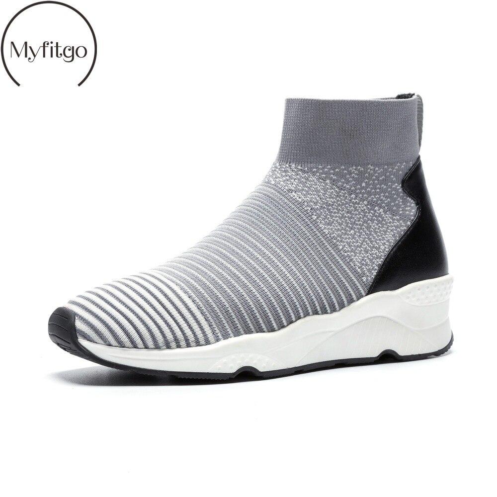 Myfitgo Printemps décontracté Femmes Baskets Chaussures De Sport De Marche Haut Stretch Tricoté Chaussures de Maille D'air Élastique Dames Cheville Bottes Nouveau