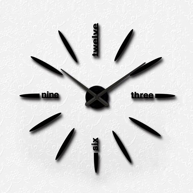 3D Gran Reloj de Pared Decoración Del Hogar Pegatina Espejo para ...