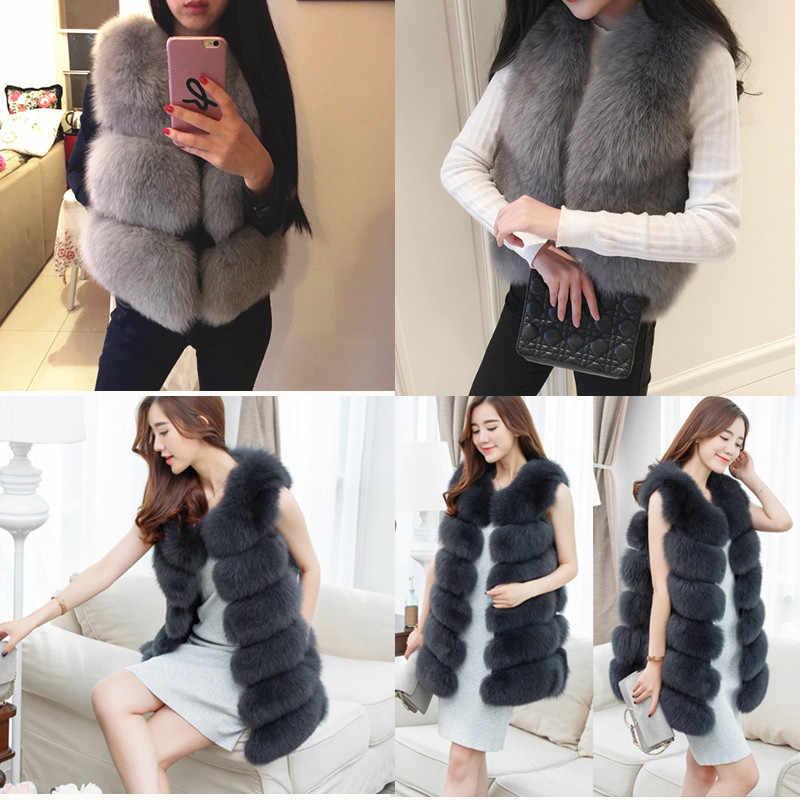 f7f577c8f1c3c Women Faux Fur Vest Hairy Coat 2018 Winter Thick Warm Luxury Fox Fur Jacket  Outwear Gilet