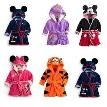 Children Print Gown Sale Boys Girls Clothing Robes Hooded Bathrobe Flannel Fleece Free Shipping Cartoon