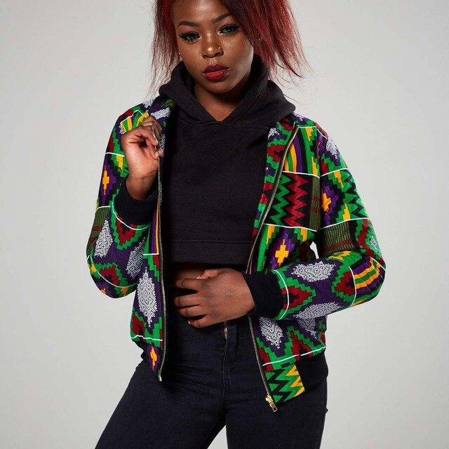 db0dad9f32464 Retro Ethnic African Dashiki for Women Print Coat Bomber Jacket Long Sleeve  Zipper Streetwear Preppy Loose