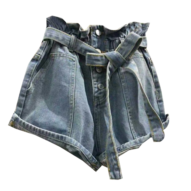 Summer Buttons Bandage Denim   Shorts   High Waisted Pockets Jeans   Shorts   Streetwear A-line   Short   Pants Hot   Short   femme 2018