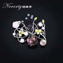 Фотография 2017 New Vintage Elegant Zinc Alloy and Natural Stone Flower Brooch Scarf Buckle Accessories for Women Party Gifts