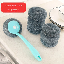 FASOTY 8 Brush Head Stainless Steel Wire Ball With Handle Cleaning Home Kitchen Dishwashing