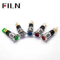 FILN 12mm Chrome Metal LED Pilot Panel Dash Signal Indicator lamp Car Boat Marine Warning light 3v 6v 12v 24v 110v 220v|Indicator Lights| |  -