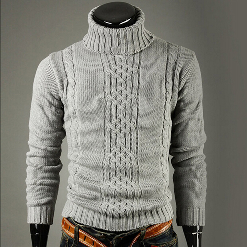 Nova marca de moda Magro dos homens de Malha Lapela de Manga Comprida de Gola Alta Camisola de Gola Alta Cor Sólida Regular para Homens Inverno Alta pescoço