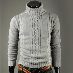 Новый модный бренд тонкий мужской вязаный лацкан с длинным рукавом водолазка сплошной цвет обычный свитер для мужчин