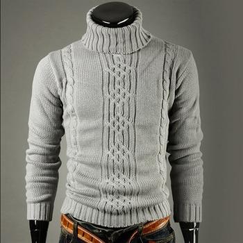 New fashion brand Slim Men's Knit Lapel Long Sleeve Turtleneck Turtleneck Solid Color Regular Sweater for Men Winter High Neck фото