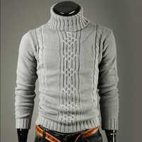 Nouvelle marque de mode Slim hommes tricot revers à manches longues col roulé col roulé couleur unie chandail régulier pour hommes hiver col haut