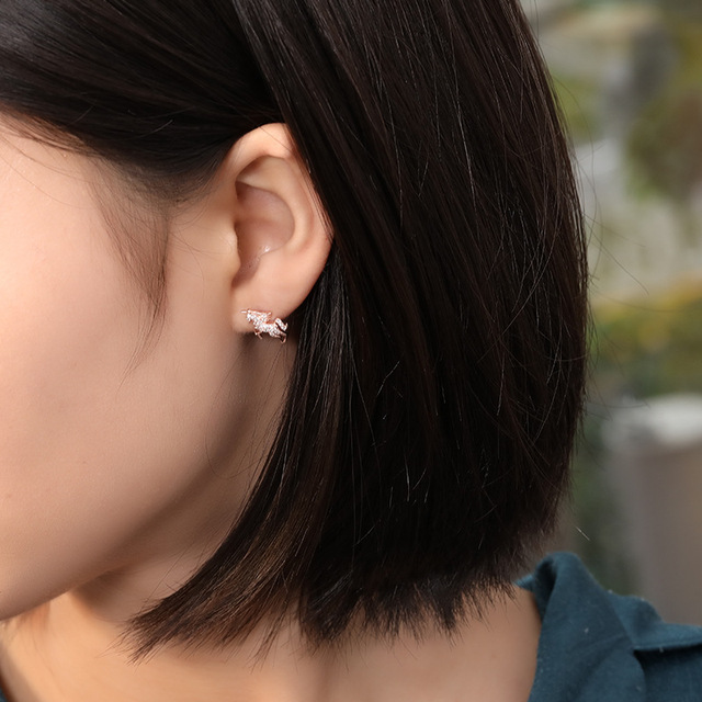 Unicorn Moon Zirconia Stud Earrings