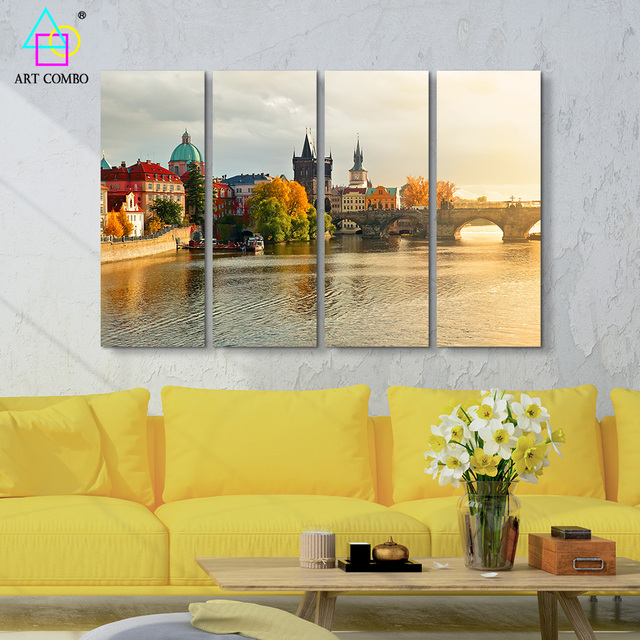 4 Panels Large Wall Pictures Canvas Painting Amazing City Lake ...