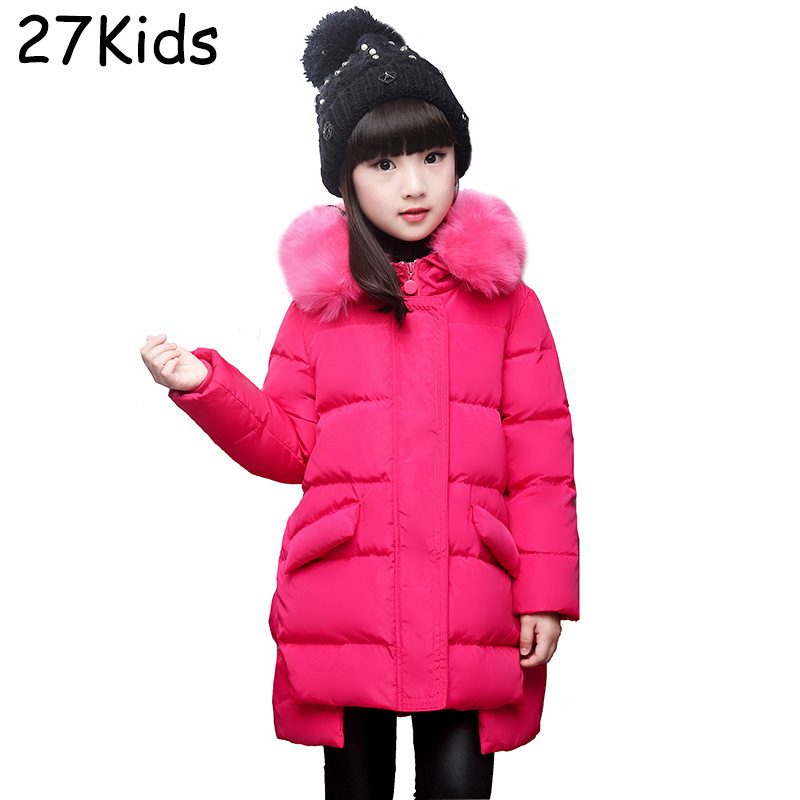 Kids Down Coat Jacket Winter Classic 2017 Teenagers Girls Parkas Real Fox Fur Collar Hooded Down Coat White Duck Long Jacket 100% white duck down women coat fashion solid hooded fox fur detachable collar winter coats elegant long down coats