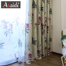 Chinese purple flower blackout curtains for living room bedroom red sheer curtains and tulle on the window floral voile blinds(China)
