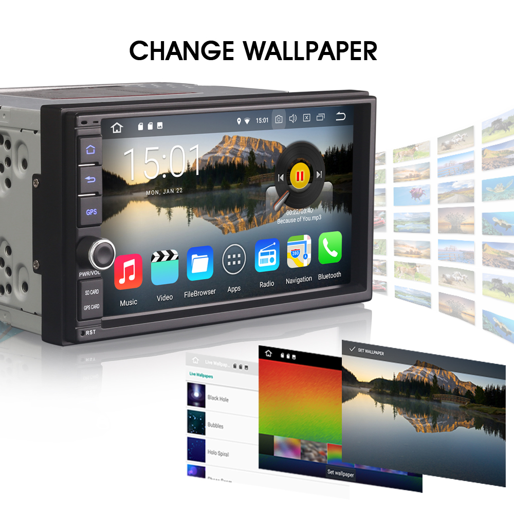 Bluetooth Navigation Navi 2 Doppel DIN MP3 Android Autoradio mit Bildschirm DAB