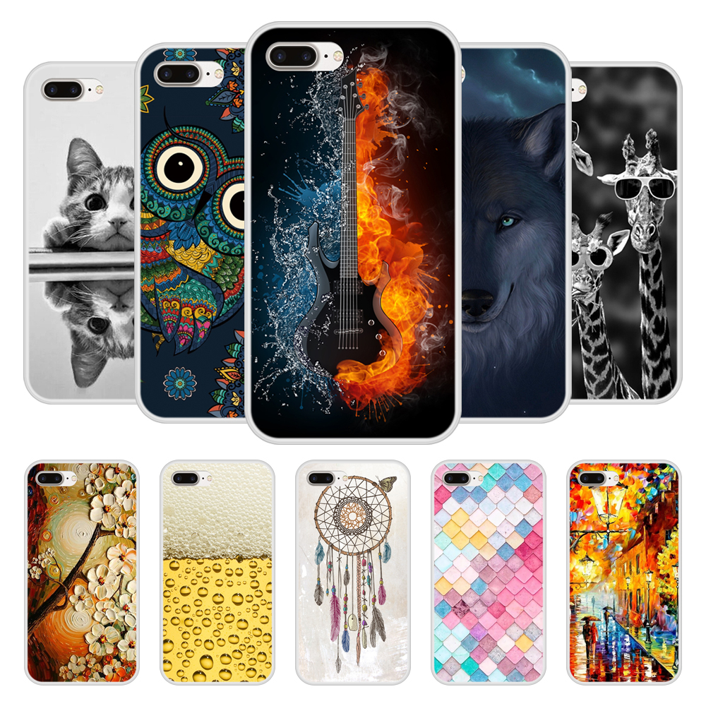 Phone Case For Apple iPhone 7 plus Soft Silicone TPU Chic Pattern Printed Coque For iPhone7plus 7plus Case Funda