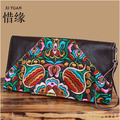 XIYUAN BRAND luxury cow Genuine Leather floral Embroidered Wallet Purse Ethnic Flowers Embroidery Women Long Wallets clutchbag