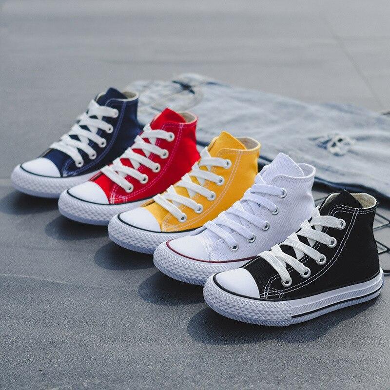 Sapatilhas Do Bebê Sapatas dos miúdos Para A Menina 2019 Moda Primavera Alta Toe sapatos de Lona Sapatos Menino Da Criança Crianças Meninas Clássicas das Sapatas de Lona