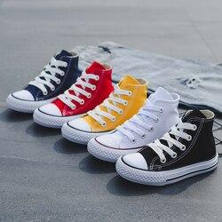 Zapatos de niños para niñas zapatillas de bebé 2019 zapatos de lona de punta alta de moda de primavera para niños zapatos de lona de niñas clásicas