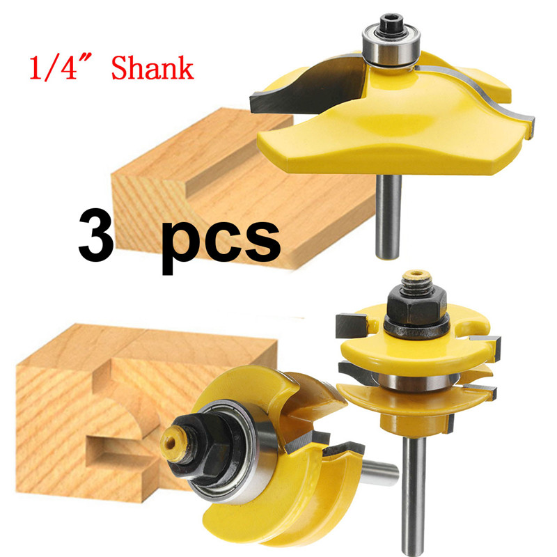 3Pcs 1/4'' Shank Ogee Rail & Stile+Ogee Raised Panel Cutting Router Bit Set Kit Woodworking Chisel Cutter Tool Set 3pcs set bit raised panel cabinet door router bit set 1 2 inch milling cutter for woodworking cutter cutting power tools