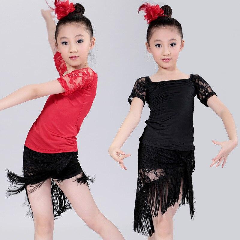Girls Red and Black Dress For Ballroom Dancing Kids Latin Dance Dress Children Disfraces Infantiles Tango Salsa Rumba Costumes