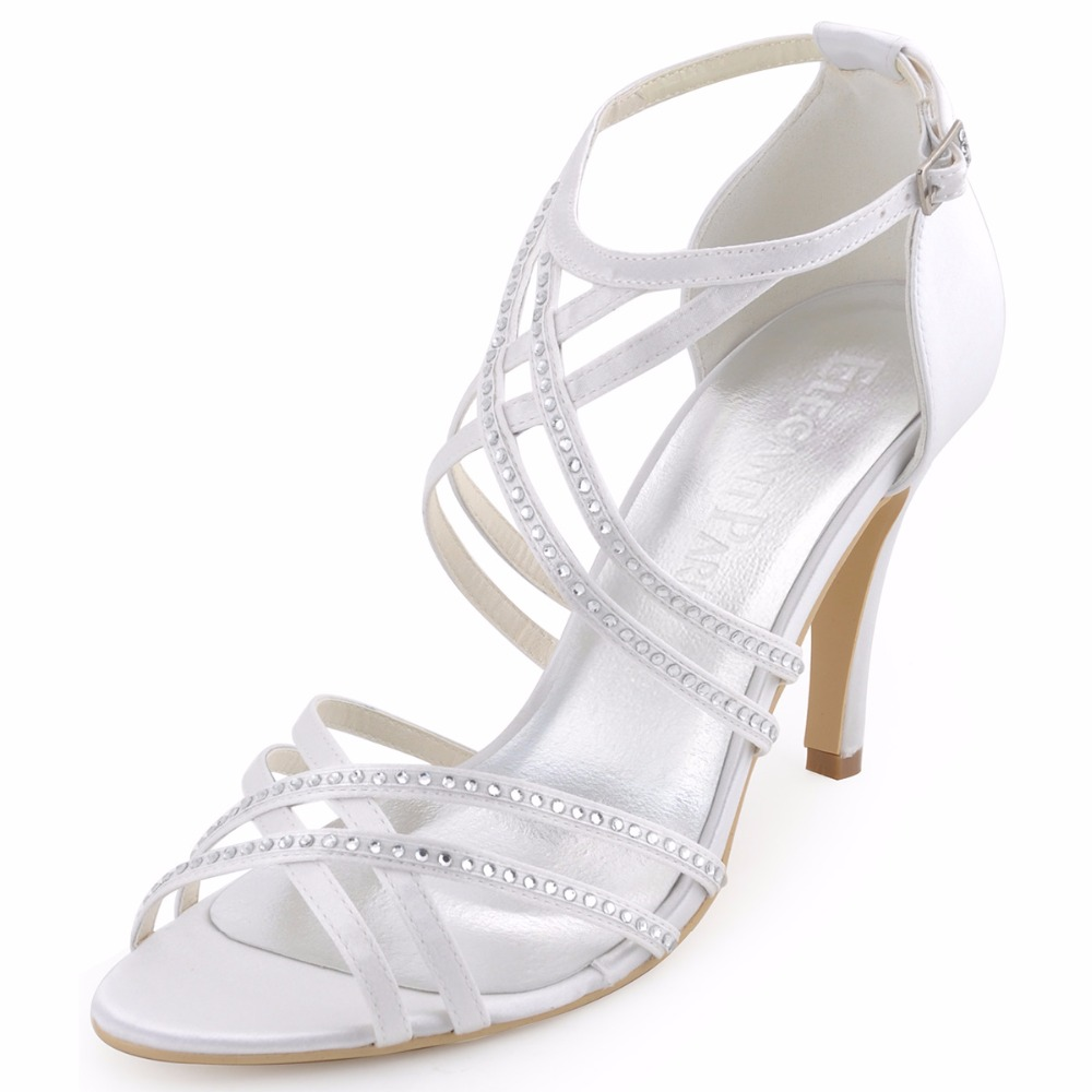 9146cff131d2 Summer Woman Sandals Sexy Silver Ankle Strap High Heel Bling Rhinestone  Satin Bride Bridesmaid Pumps Bridal Wedding Shoes HP1505USD 35.95 pair