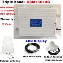Трехдиапазонный мобильный 2G 3g 4G GSM 900 DCS 1800 3g WCDMA 2100 MHz сотовый телефон усилитель сетевого сигнала усилитель сигнала ретранслятор