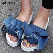 2017 Summer Women Flat Platform Slippers Big Bowtie Decoration Sexy Ladies Open Toe Casual Sandals Female Flat Shoes