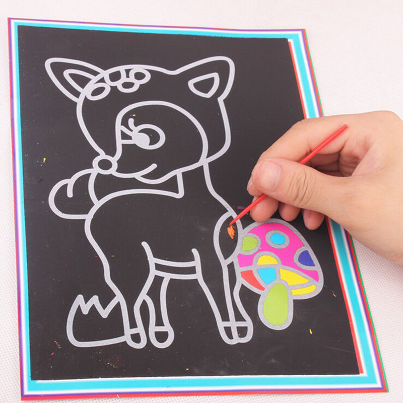 Kids Children 26.5cm*19cm DIY Colorful Drawing Toys Scratch Art Paper Magic Painting Paper with Drawing Stick For Kids