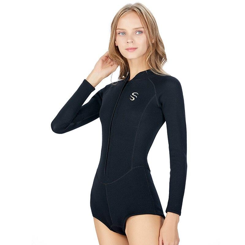 SLINX 2mm néoprène Anti-UV garder au chaud femmes à manches longues Bikini combinaison bas chaussettes longues maillots de bain avant Zipper combinaison de plongée - 4