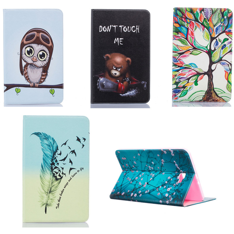 BF For Samsung Galaxy Tab A 10.1 (2016) T580 T585 T580N T585C Tablet Case Print Design Folio PU Leather Protective Cover Shell
