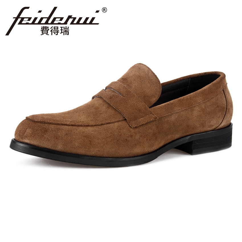 2018 Basic Genuine Leather Cow Suede Men's Loafers Round Toe Slip on Man Party Flats Handmade Height Increasing Male Shoes BQL19 brand new men genuine leather flats man casual shoes loafers cow suede leather weddng party black handmade formal shoe d966 3