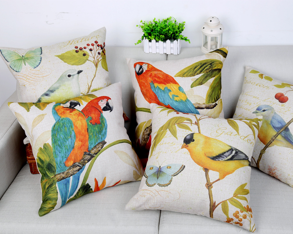 Color Painting Birds Series Cushion Covers Vivid Cute Bird