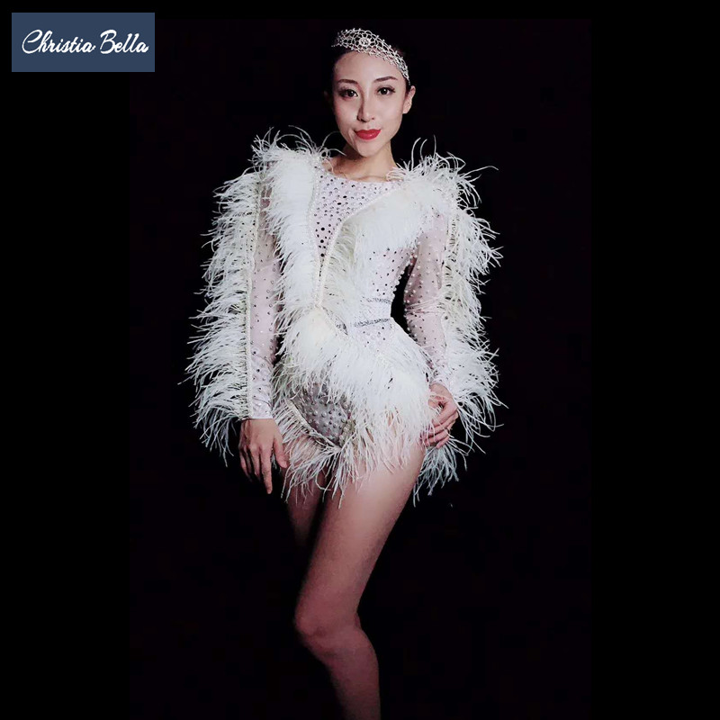 Белое перо рукавом сценическое боди для Для женщин стрейч Стразы трико костюм Go Go танцовщица комбинезоны наряды