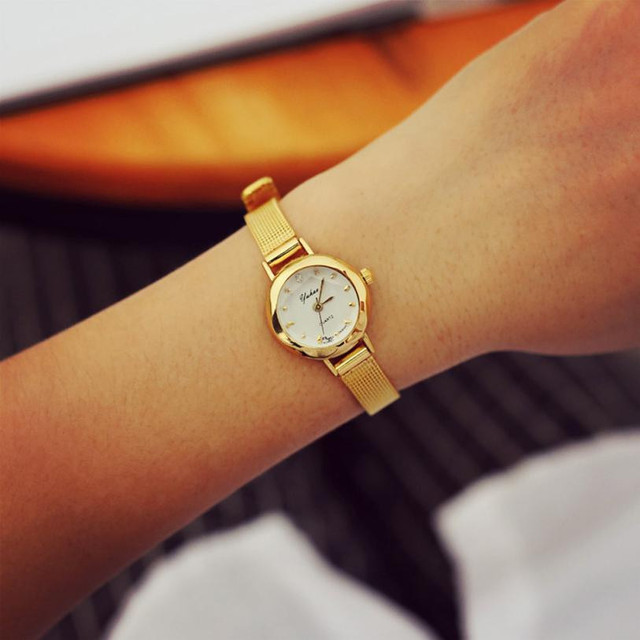Elegant Golden Women Bracelet Watches Fashion Delicate Female Alloy Mesh Strap Q