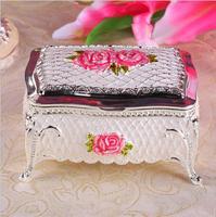 Europe metal jewelry box Desktop storage box sliver Epoxy jewelry box organizer travel jewelry box for wedding decoration Z078