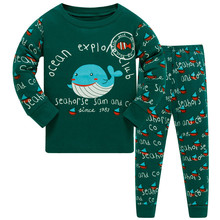Купить с кэшбэком Children's Pajamas Set Boys Whale Cotton Animal Sleepwear Long-sleeved Good Quality Kids Pajamas Suit