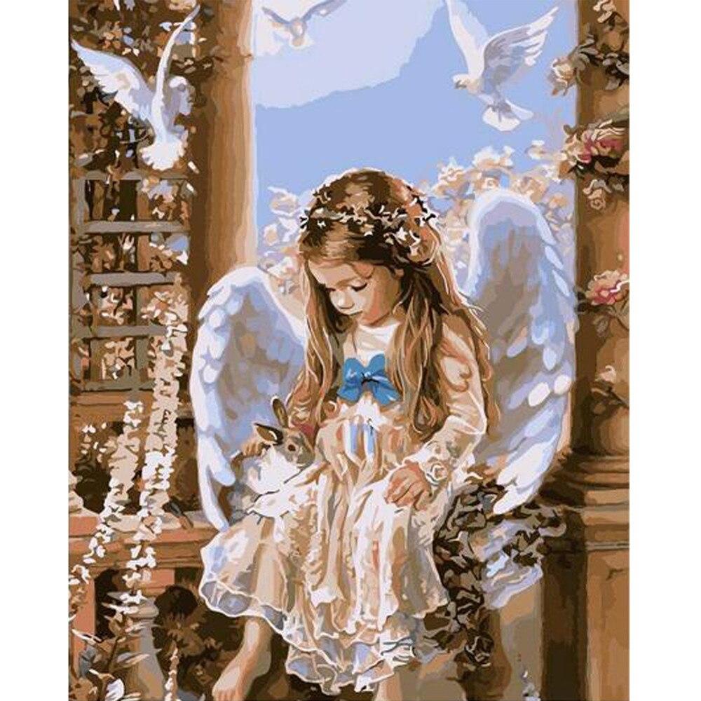 ISHOWTIENDA маленькая девочка Ангел 5D Алмаз DIY живопись вышивки крестом ремесла Алмазная вышивка Vovotrade украшения дома стены купить на AliExpress