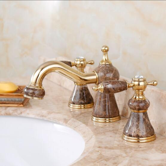 Fashion Jade And Brass Construction Gold Finished Bathroom Widespread Basin Faucet,3 Holes Sink Tap Mixer