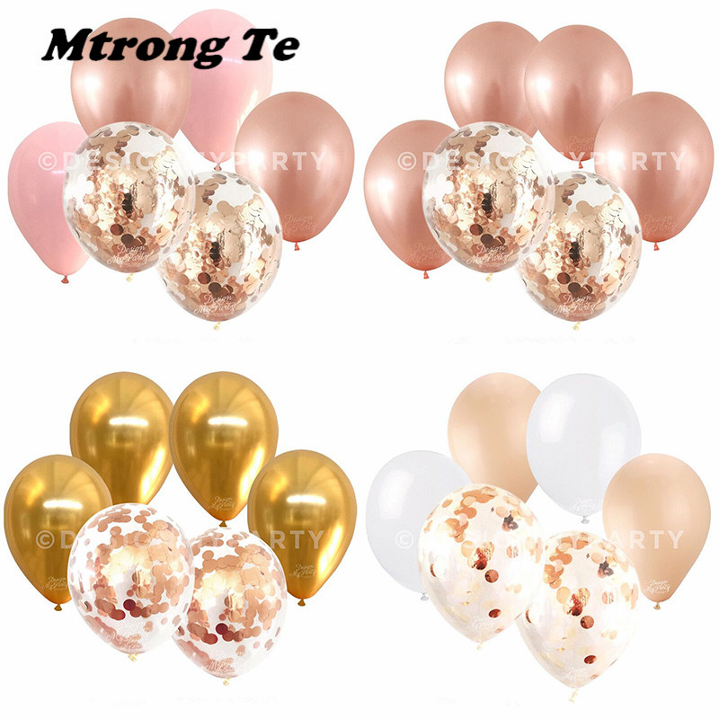 6pcs/lot 12inch Sliver Rose Gold gold Latex Balloons rose gold confetti Wedding Birthday Party Decor Helium Supplies Air Globos ...