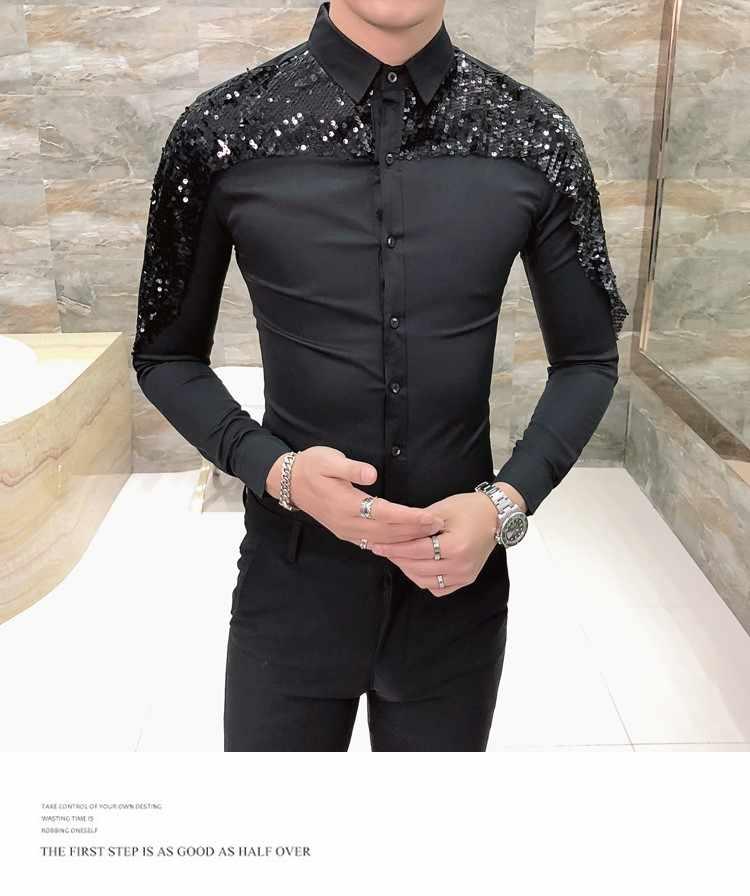 אופנה רשת חברתית אדום חולצה איש Camisa Masculina סתיו Slim Fit נצנצים חולצות מועדון לילה תחתונית Homme מעצב שיער גברים