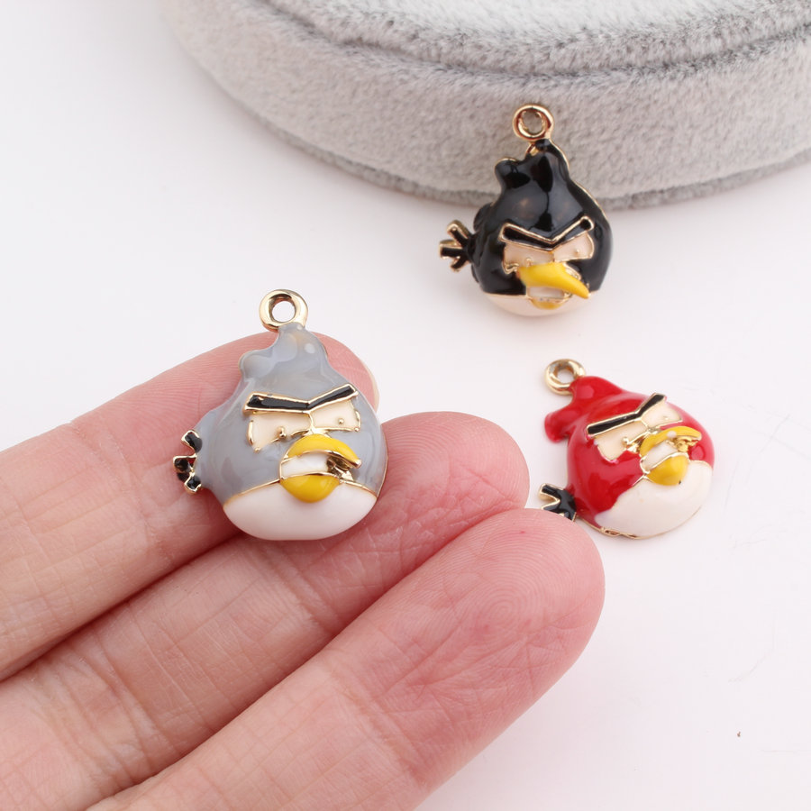 DIY Jewelry Findings Gold Tone Plated Oil Drop Kawaii Animal Bird Pendant Charm Craft Fit Bracelet Necklace Keyring Phone Chain