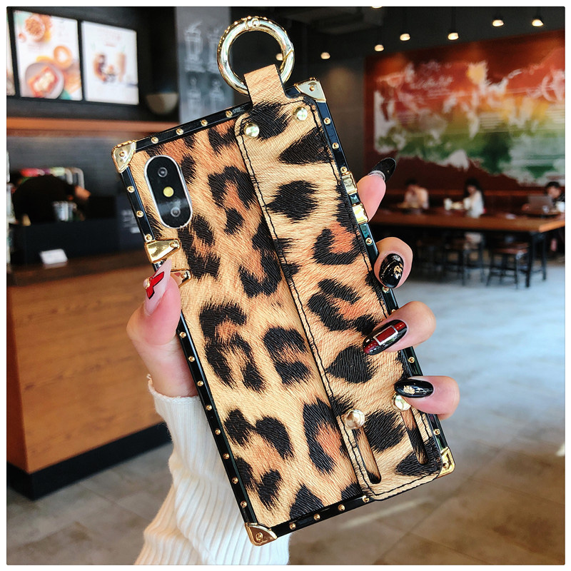 Luxury brand Square Leopard print rose flower case for iphone 7 8 6 6s plus girl women phone case for iphone X XS Max Xr cover (3)