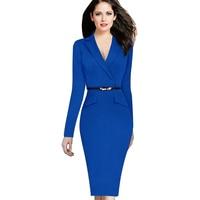 2016 Yeni Tasarımcı Kadın Elbise Kuşaklı Tunik Giyim Kılıf İnce Sashes Çentikli Yaka Kontrast Artı Boyutu 4XL Elbise için Parti
