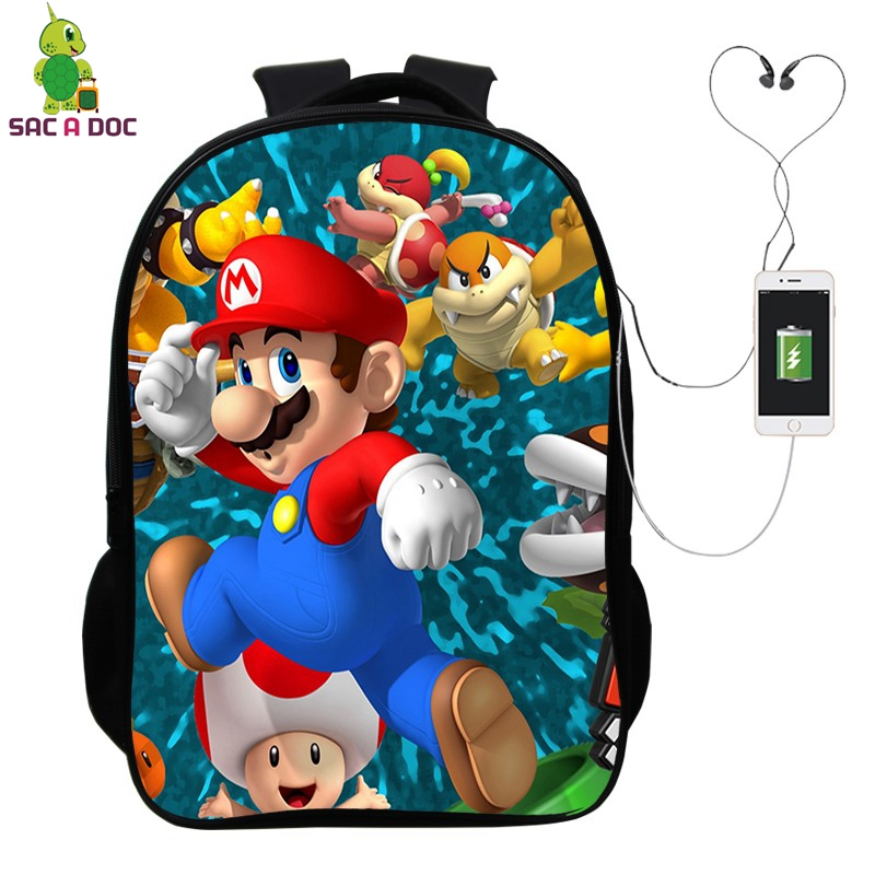 Super Mario Backpack with USB Charge Headphone Jack Laptop Backpack School Bags for Teenagers Boys Girls Kids Travel Daypacks