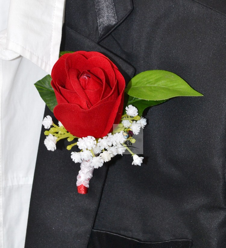 Black Flower Corsage Brooch Masoomah: Brand New 5Pcs/Lot Best Man Groom Boutonniere Red Flower