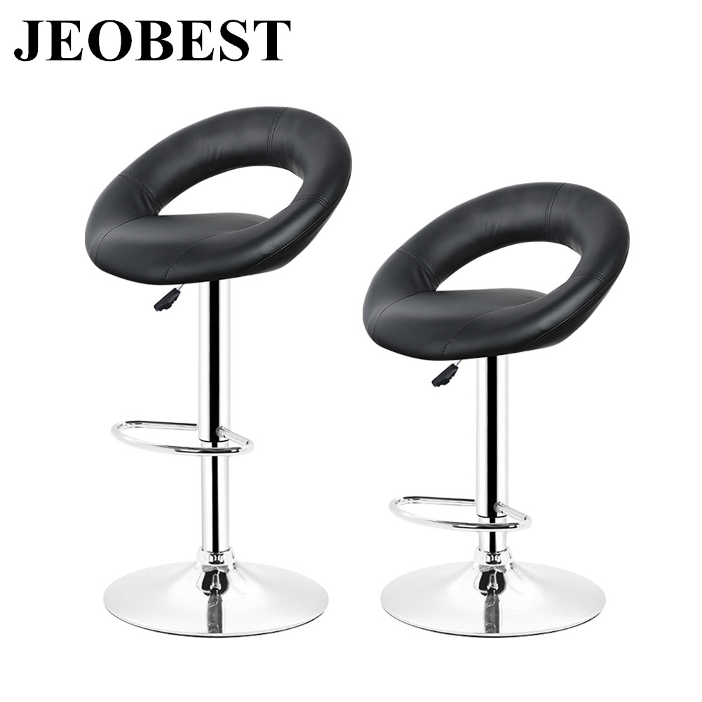 JEOBEST New 2Pcs Synthetic Leather Rotating Adjustable Height Bar Stool Chair Stainless Pneumatic Steel Stent Chair 3 Colors HWC