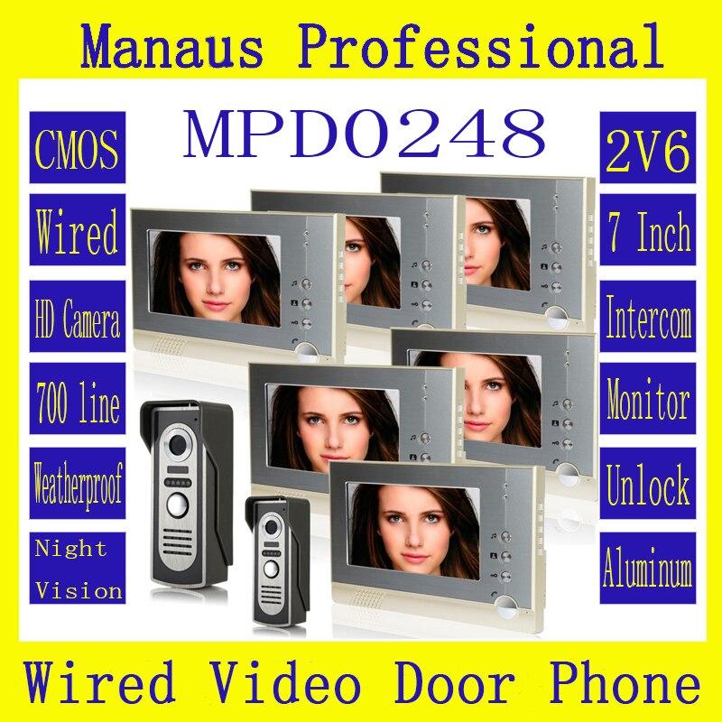 7 inch Screen Display Magnetic Lock Two to Five Video Doorphone Device Waterproof Outdoor Digital Video Intercom System D248b