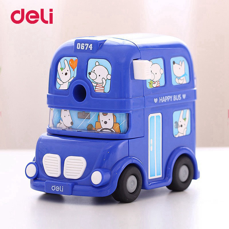 Deli Cute Kawaii BUS Mechanical Pencil Sharpener Kids School Supplies Stationery Hand Crank Mechanical Pencil Sharpeners deli cute stationery thomas mechanical pencil sharpener train friends give child a learning gift good quality school stationery