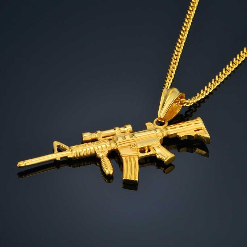 AK47 naszyjnik ze stali nierdzewnej z pistolet wisiorek Hiphop hurtownie czarny złoty kolor moda naszyjniki dla kobiet/mężczyzn 2016